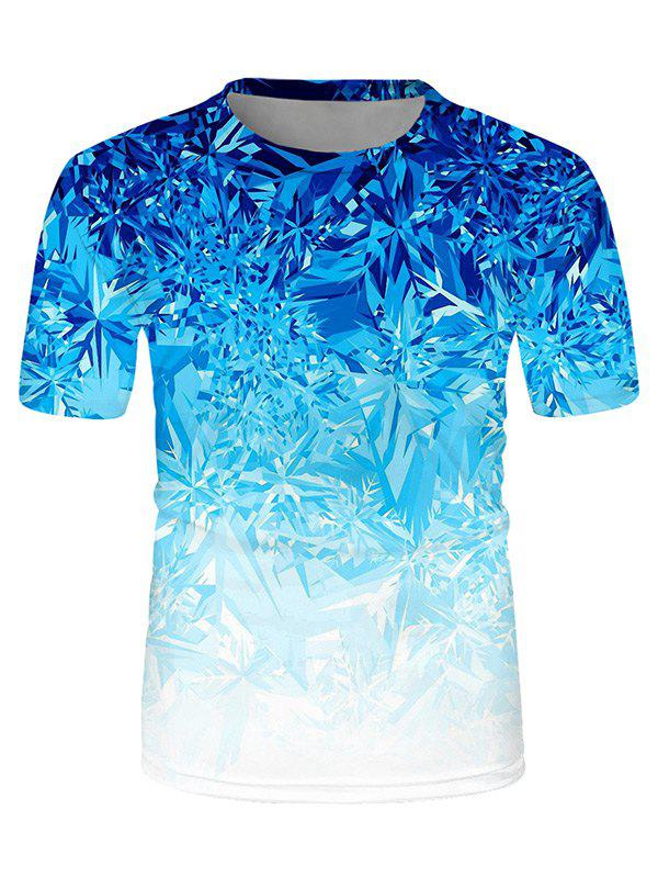 Hot Digital Ice Print Crew Neck Ombre Casual T Shirt