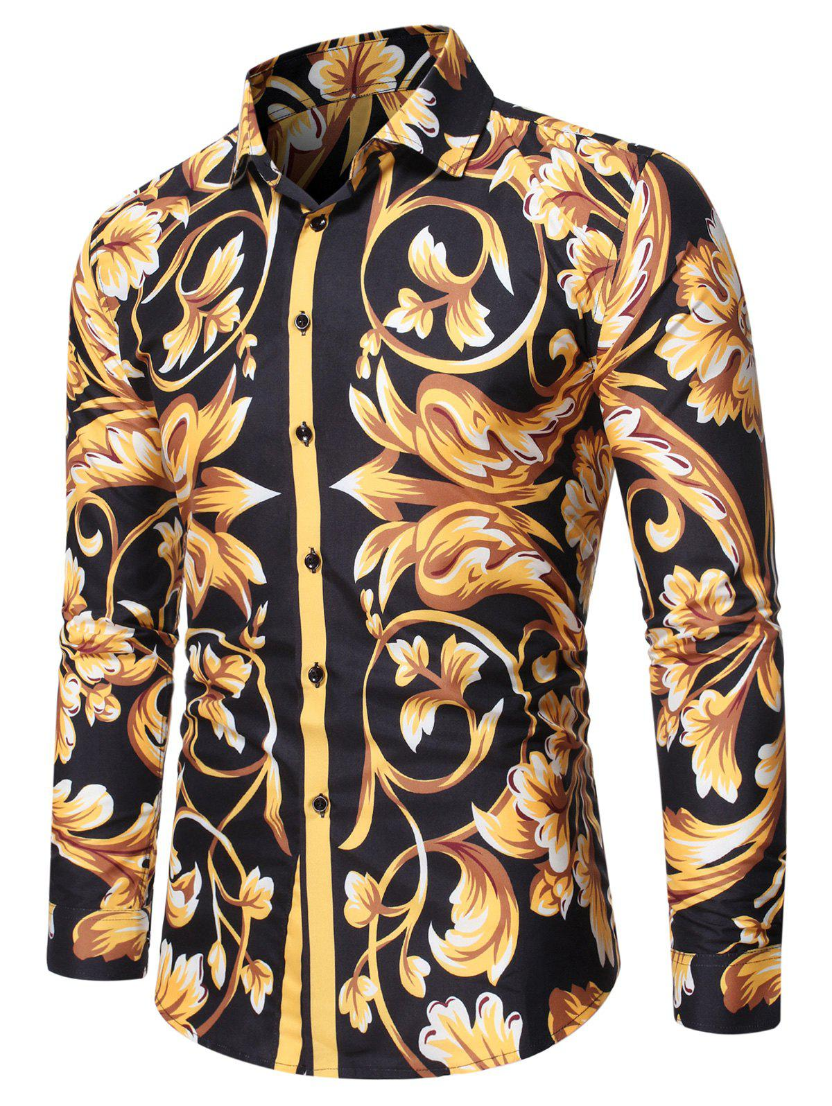 Baroque Print Button Up Long Sleeve T Shirt фото