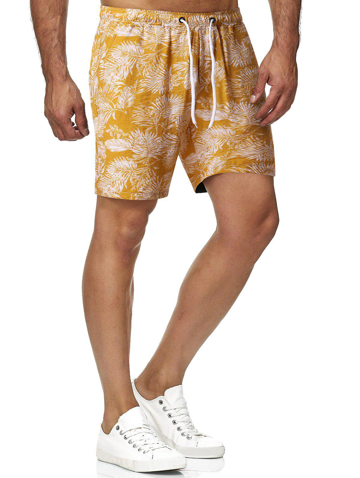 Outfits Leaf Print Drawstring Beach Shorts