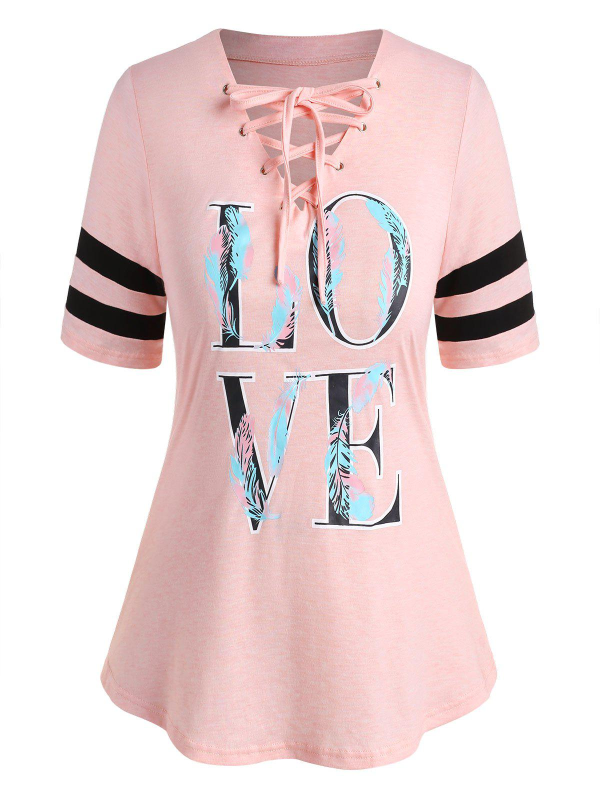 Affordable Plus Size LOVE Feather Print Lace Up Graphic Tee