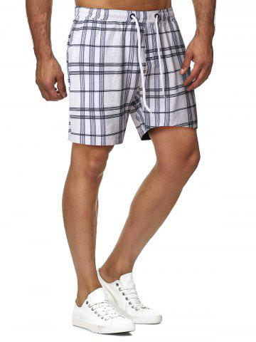 Drawstring Plaid Pattern Casual Shorts