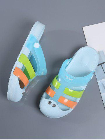 Colorblock Jelly Closed Toe Hole Slides - LIGHT BLUE - EU 41