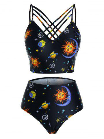 Plus Size Moon and Sun Planet Print Straps High Rise Tankini Swimwear - BLACK - 5X