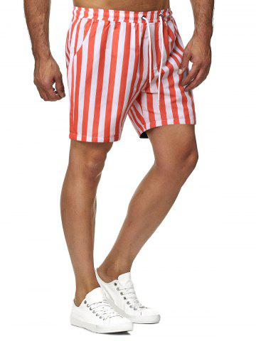 Contrast Color Stripes Pattern Beach Shorts