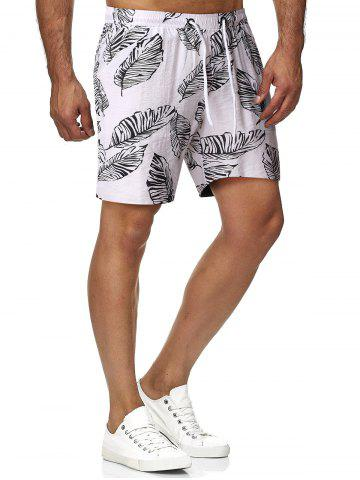 Drawstring Palm Leaf Print Beach Shorts