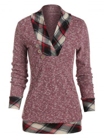 Mock Button Plaid Trim Heather Knit Pullover Sweater - RED WINE - 3XL
