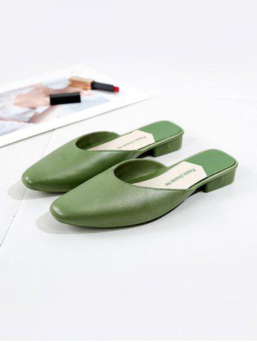 Square Collar Leather Flat Half Shoes - GREEN - EU 38
