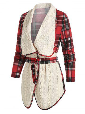 Plaid Print Belted Cable Knit Jacket