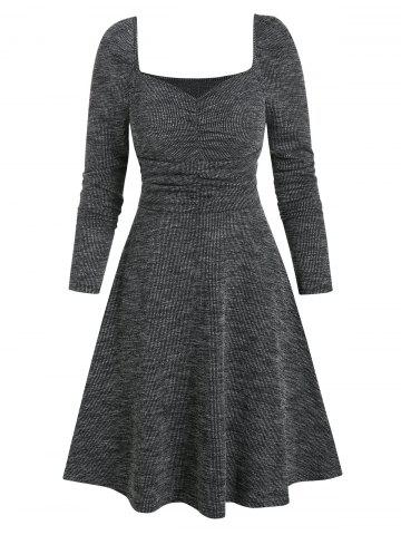 Sweetheart Neck Ruched Long Sleeve A Line Dress
