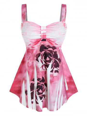 Plus Size Tie Dye Flower Ruched Backless Tank Top - PINK - 2X