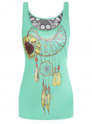 Skull Dream Catcher Print Hollow Back Tank Top -