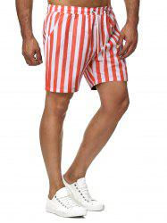 Contrast Color Stripes Pattern Beach Shorts -