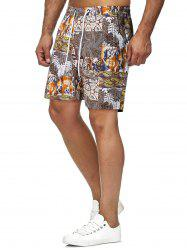 Tribal Plant Graphic Print Beach Shorts -