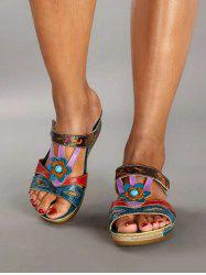 Colorblock Floral Cut Out Wedge Heel Slides -