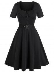 Plus Size Belted Buttoned Square Neck Vintage Dress -