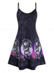 Plus Size 3D Galaxy Oriental Dragon Print Dress -