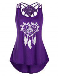 Heart Feather Print Lace Panel Tank Top -