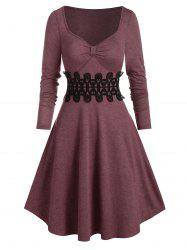 Sweetheart Neck Lace Panel Long Sleeve Mini Dress -