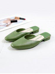 Square Collar Leather Flat Half Shoes -