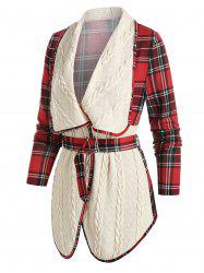 Plaid Print Belted Cable Knit Jacket -