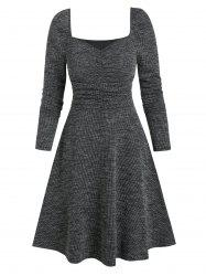 Sweetheart Neck Ruched Long Sleeve A Line Dress -