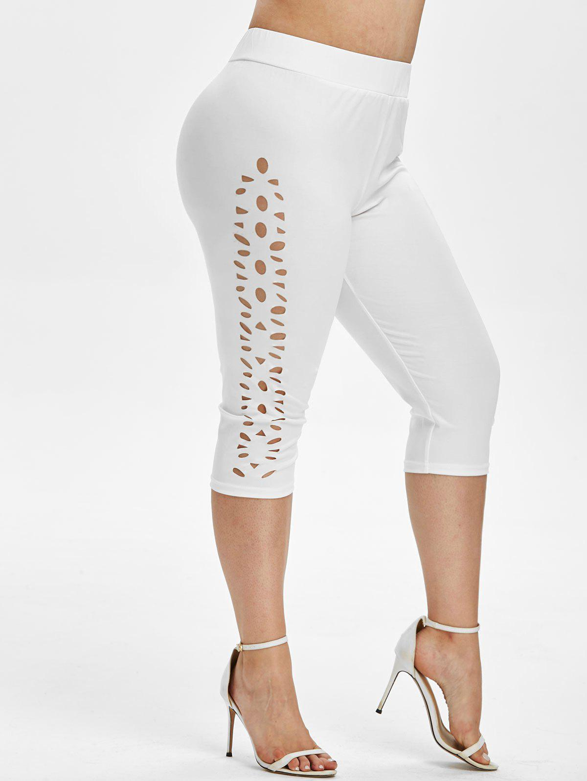 Outfit Plus Size Laser Cut High Waisted Capri Leggings