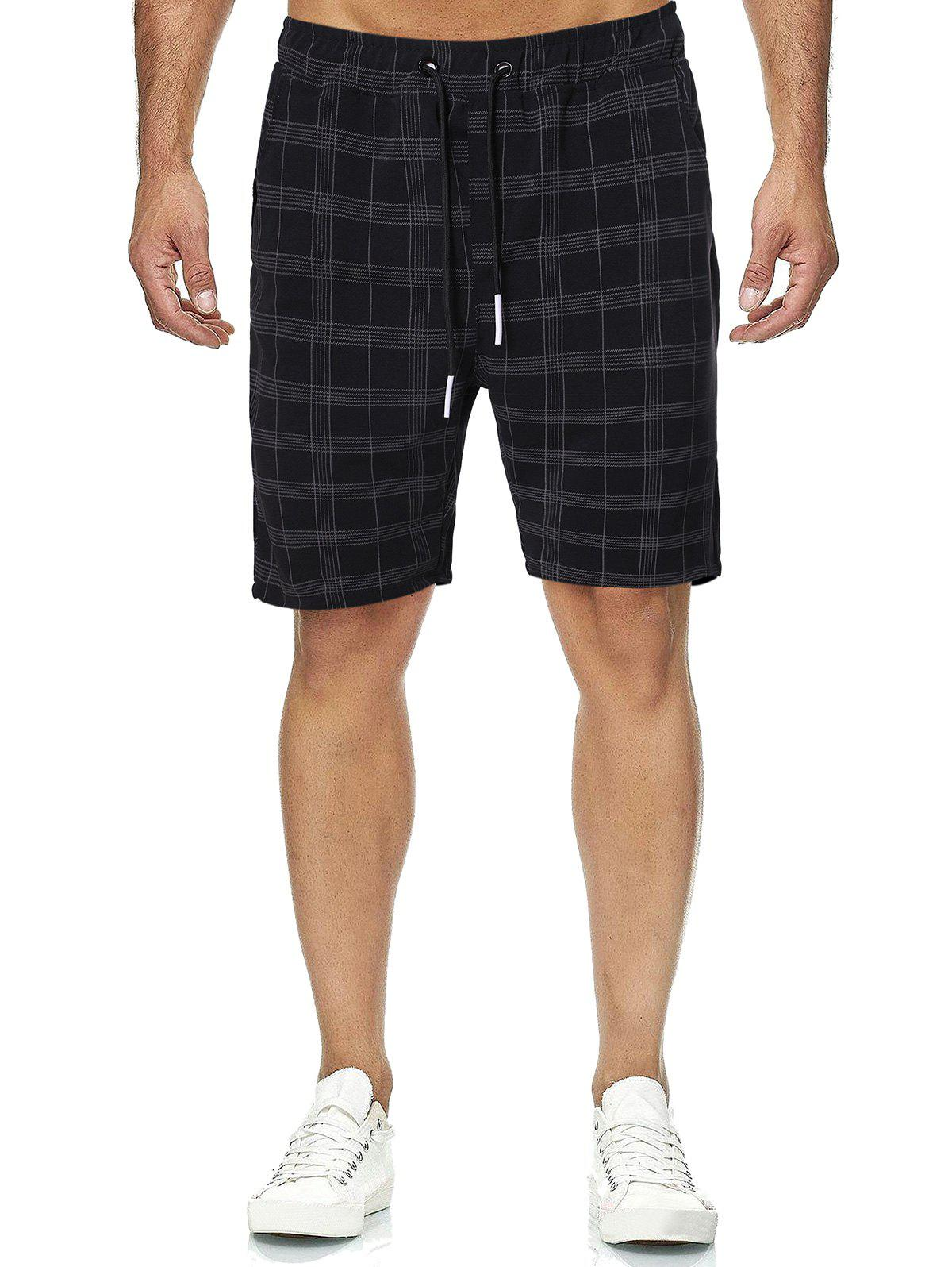 Buy Plaid Print Drawstring Casual Shorts