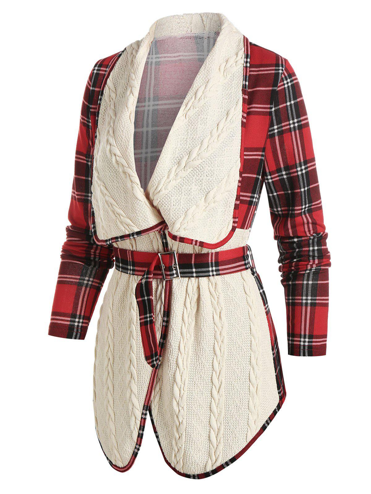 New Plaid Print Belted Cable Knit Jacket