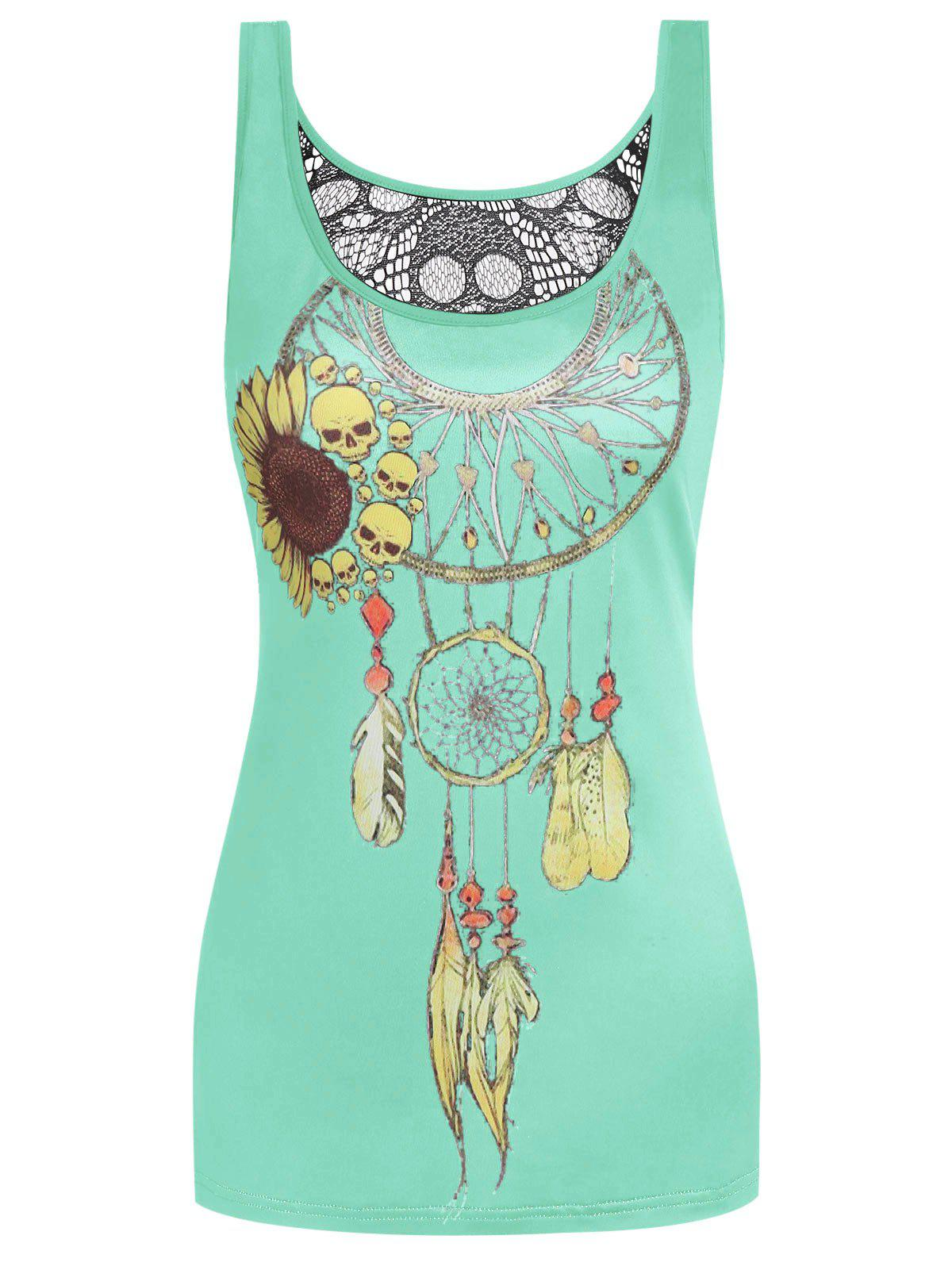 Online Skull Dream Catcher Print Hollow Back Tank Top