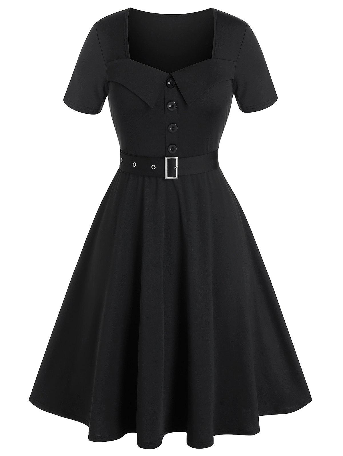 Hot Plus Size Belted Buttoned Square Neck Vintage Dress