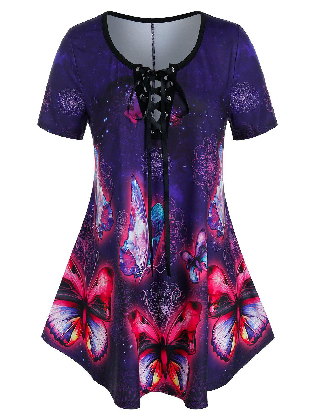 Best Plus Size Butterfly Print Lace-up Curved Tunic Tee