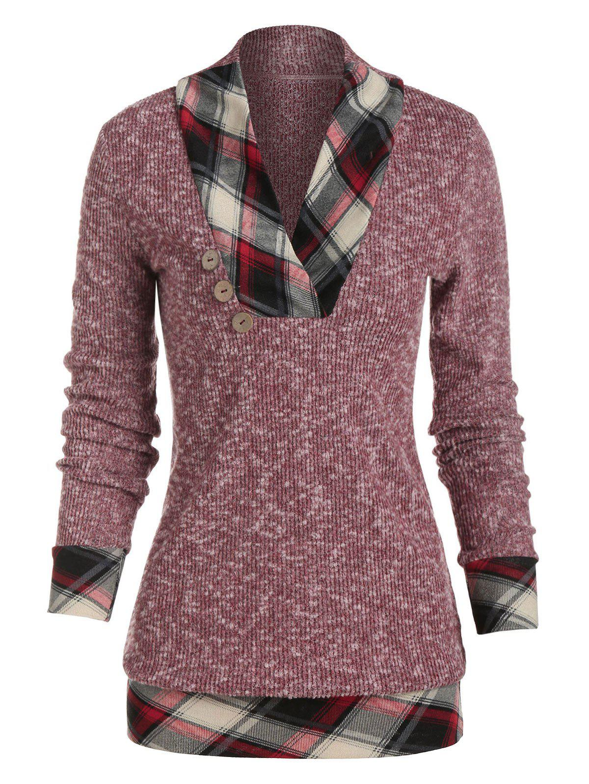 Outfits Mock Button Plaid Trim Heather Knit Pullover Sweater