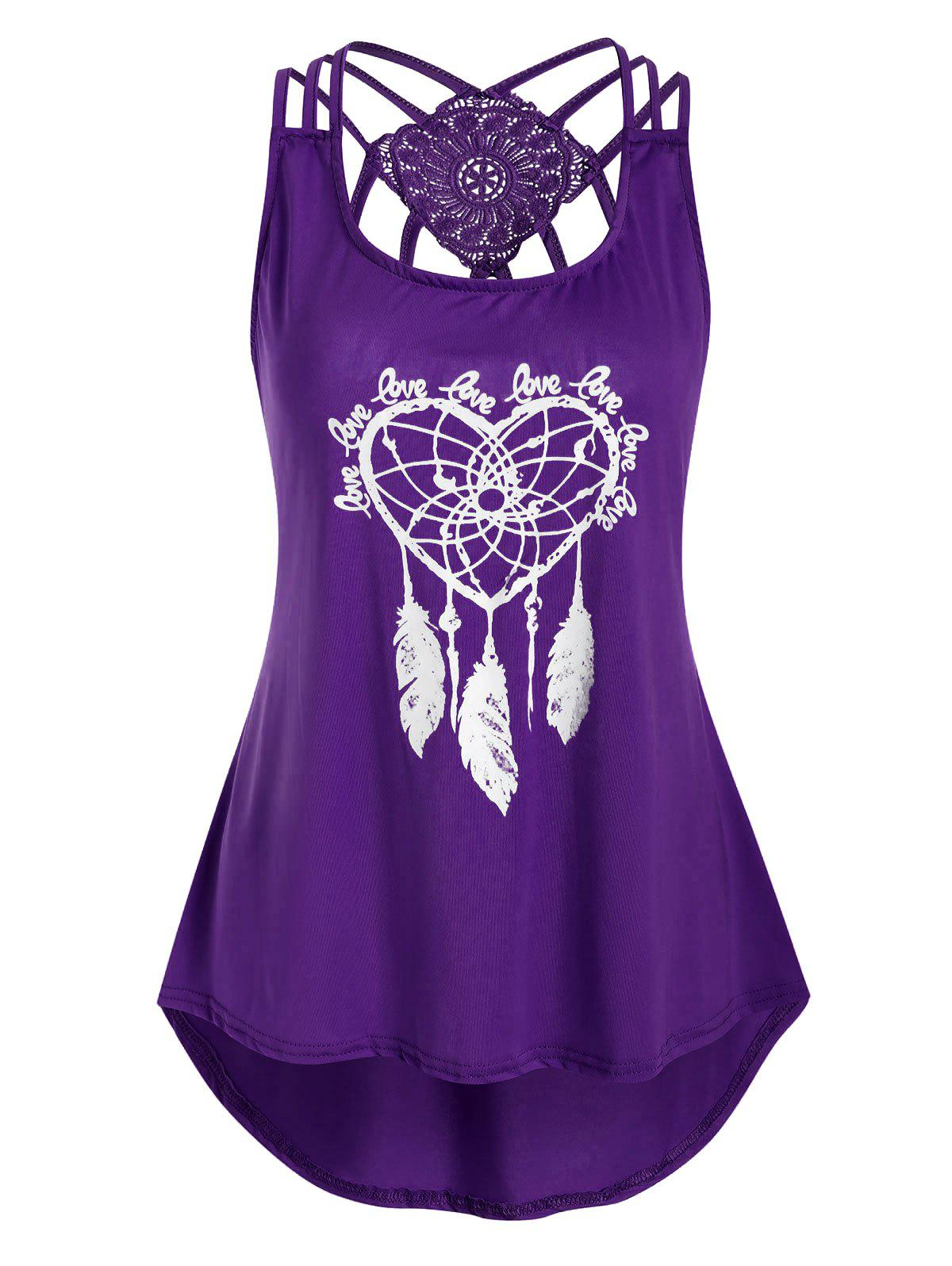 Fashion Heart Feather Print Lace Panel Tank Top