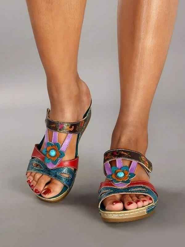 Fancy Colorblock Floral Cut Out Wedge Heel Slides