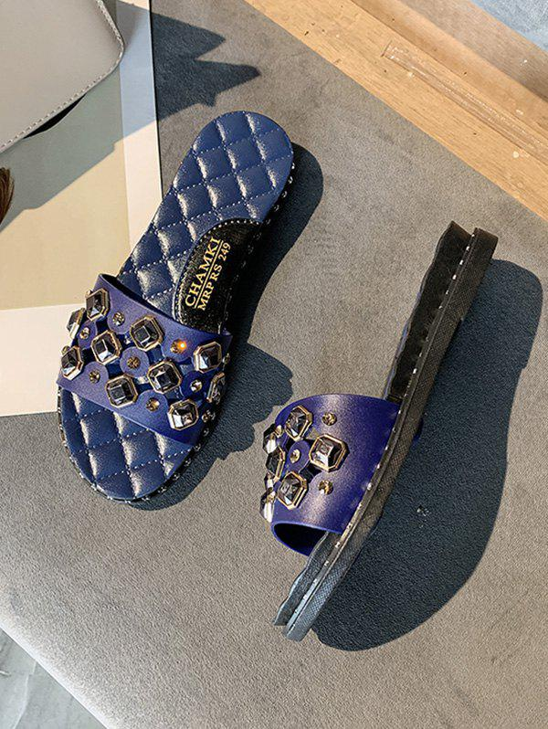 Shops Cut Out Rhinestone Quilted Flat Slides