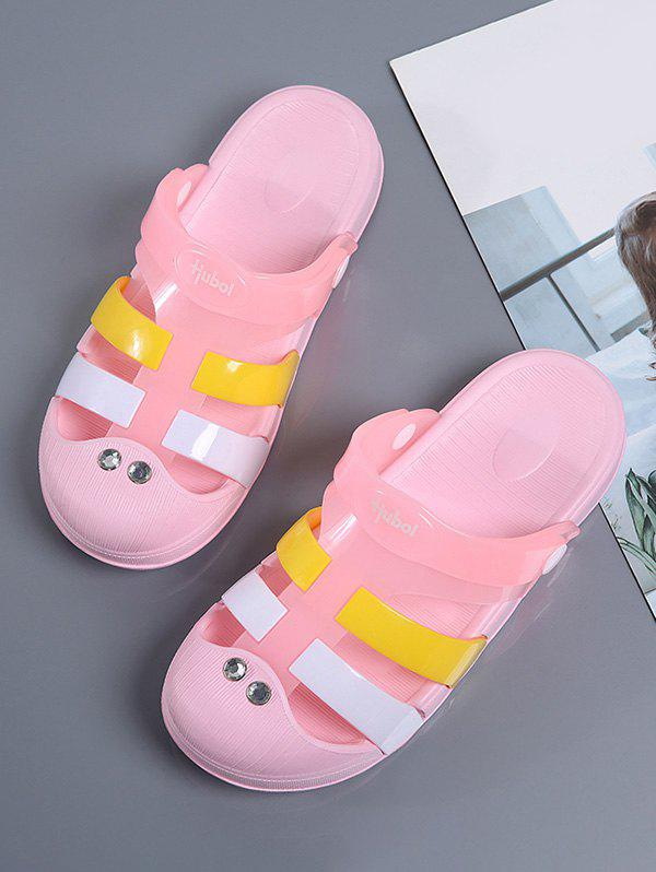 Store Colorblock Jelly Closed Toe Hole Slides