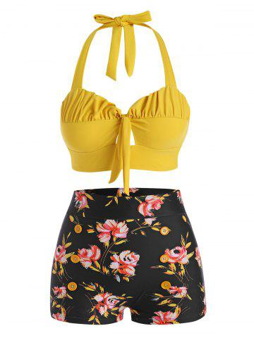 Halter Floral Ruched Bikini Swimwear - YELLOW - XL