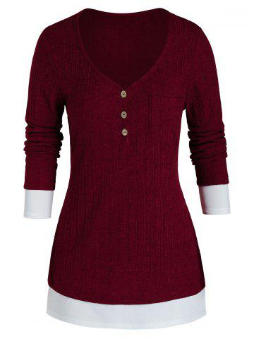 Plus Size Bicolor Two Tone Knit Chest Pocket Tunic Sweater - RED WINE - 4X