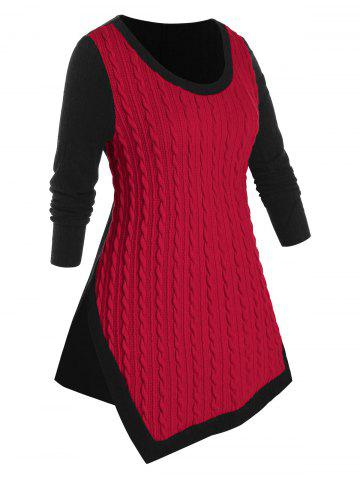 Plus Size Cable Knit Two Tone Asymmetrical Slit Sweater