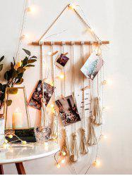 Tasseled Macrame Wall Hanging Photo Holder with Clips -