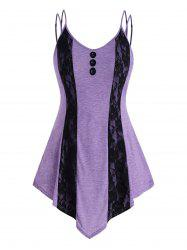 Strappy Mock Buttons Lace Panel Plus Size Tank Top -