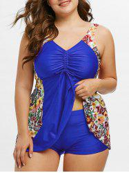 Plus Size Cinched Paisley Floral Print Tankini Swimwear -