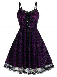 Plus Size Lace Skull Lace-up Backless Cami Dress -