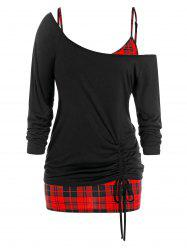 Plus Size Skew Collar Cinched T-shirt and Plaid Cami Top Set -