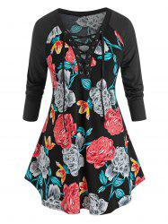 Plus Size Flower Print Lace-up Curved Tunic Tee -
