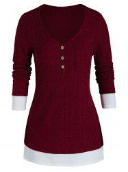 Plus Size Bicolor Two Tone Knit Chest Pocket Tunic Sweater -