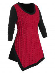 Plus Size Cable Knit Two Tone Asymmetrical Slit Sweater -