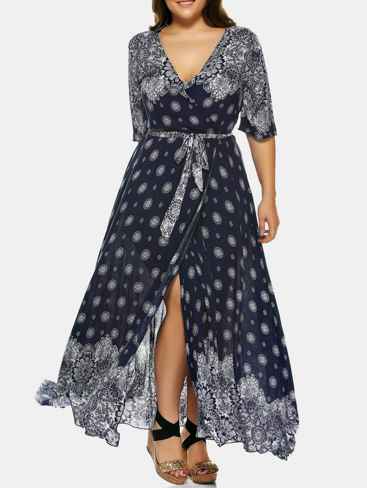 Sale Plus Size Tribal Print Plunge High Slit Wrap Dress