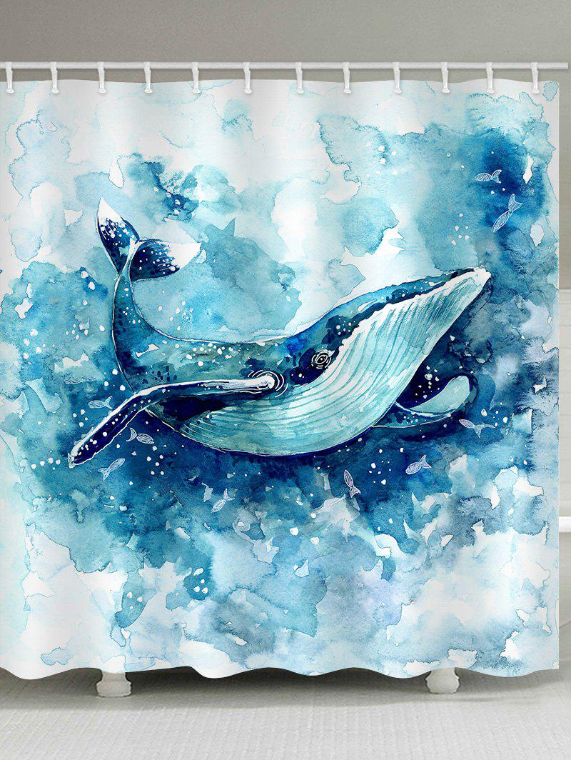 Chic Painted Whale Pattern Waterproof Bathroom Shower Curtain