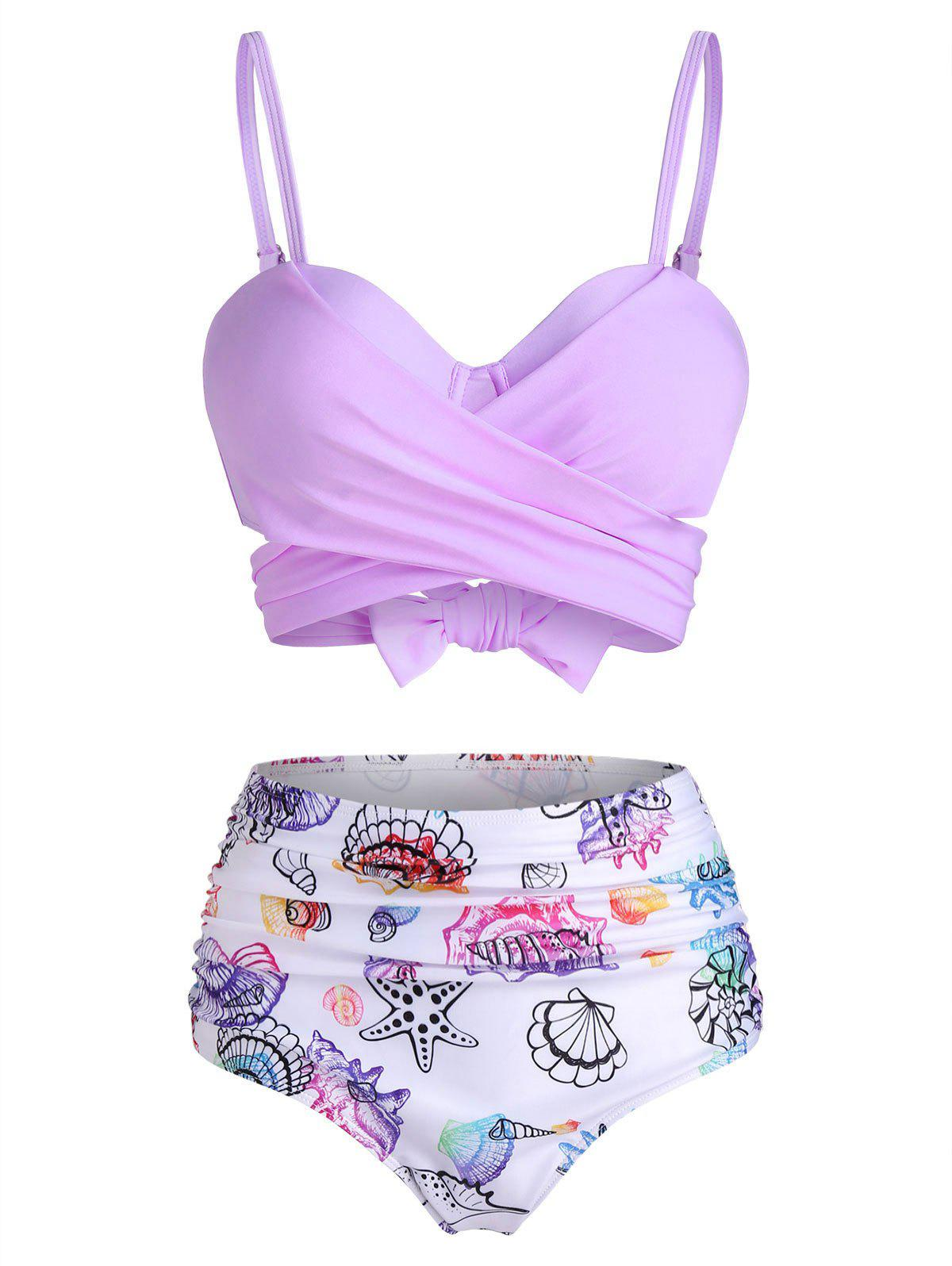 Hot Shell Starfish Print Tie Dye Padded Bikini Set